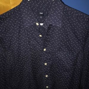 Patterned, navy button-down